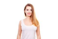 Retrato de la mujer joven del adolescente con el pelo marrón largo Imagen de archivo