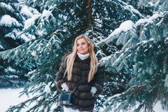 Retrato de la mujer joven del invierno Modelo alegre Girl de la belleza que ríe y que se divierte en mujer joven hermosa del bosq imagen de archivo libre de regalías