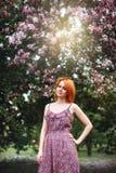Retrato de la mujer joven del pelirrojo al aire libre Imagen de archivo