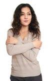 Retrato de la mujer joven en blanco Foto de archivo libre de regalías