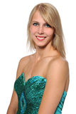 Retrato de la mujer joven en vestido de noche Imágenes de archivo libres de regalías