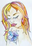 Retrato de la mujer joven hermosa con el tatuaje colorido del pelo y de la flor en su hombro Arte dibujado mano de la acuarela li Fotos de archivo