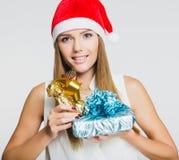 Retrato de la mujer joven hermosa con los presentes Foto de archivo libre de regalías