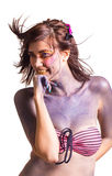 Retrato de la mujer joven hermosa con maquillaje creativo del arte pop Imágenes de archivo libres de regalías