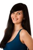 Retrato de la mujer joven hermosa en camiseta azul Foto de archivo