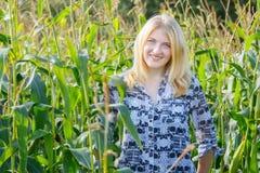 Retrato de la mujer joven rubia en campo de maíz Imagen de archivo libre de regalías