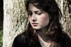 Retrato de la mujer joven, triste Fotografía de archivo