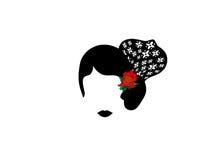 Retrato de la mujer latina o española moderna, señora con el peineta y la flor roja, icono aislado, transporte de los accesorios  Imágenes de archivo libres de regalías