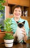 Retrato de la mujer mayor con las flores y el gato Imagen de archivo libre de regalías