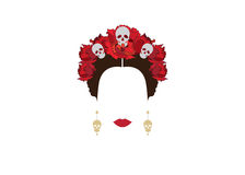 Retrato de la mujer mexicana con los cráneos y las flores rojas, inspiración Santa Muerte en México y Catrina, aislante del ejemp Foto de archivo libre de regalías