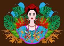 88c5c36463 Retrato De La Mujer Mexicana Hermosa Joven Con Un Peinado Tradicional  Ilustración del Vector - Ilustración de cultura