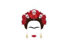 Retrato de la mujer mexicana moderna con el cráneo y la flor roja, inspiración Santa Muerte en México, ejemplo del vector Fotografía de archivo