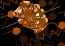 Retrato de la mujer negra joven en un turbante Belleza del africano de la animación Vector el ejemplo de color aislado en un fond libre illustration