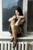 Retrato de la mujer pensativa joven Fotografía de archivo