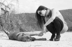 Retrato de la mujer que se coloca en el parque con el perro Imagen de archivo libre de regalías