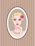 Retrato de la mujer retra stock de ilustración