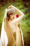 Retrato de la mujer romántica en bosque de hadas Fotografía de archivo