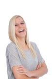 Retrato de la mujer rubia feliz Imágenes de archivo libres de regalías