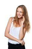 Retrato de la mujer sonriente alegre joven Foto de archivo