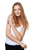 Retrato de la mujer sonriente alegre joven Fotografía de archivo libre de regalías
