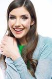 Retrato de la mujer sonriente feliz En el fondo blanco Imagen de archivo