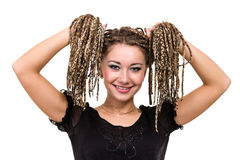 Retrato de la mujer sonriente joven con los dreadlocks Imágenes de archivo libres de regalías
