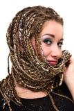 Retrato de la mujer sonriente joven con los dreadlocks Imagen de archivo libre de regalías