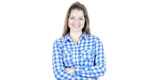 Retrato de la mujer sonriente positiva, fondo blanco, jóvenes,
