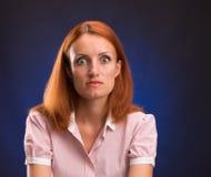 Retrato de la mujer sorprendida Fotos de archivo