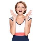 Retrato de la mujer sorprendida con emociones positivas Foto de archivo libre de regalías