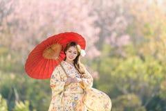 Retrato de la mujer tradicional japonesa Foto de archivo libre de regalías