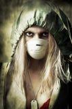 Retrato de la mujer triste en máscara de respiración Imágenes de archivo libres de regalías