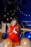Retrato de la Navidad con los ciervos fotografía de archivo