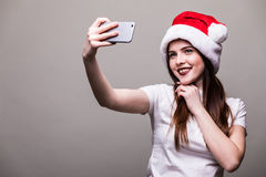 Retrato de la Navidad de la mujer hermosa Fotos de archivo libres de regalías