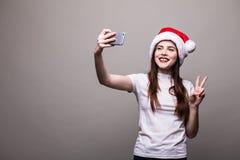 Retrato de la Navidad de la mujer hermosa Imágenes de archivo libres de regalías