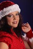 Retrato de la Navidad de la mujer joven del tamaño extra grande hermoso Imagen de archivo libre de regalías