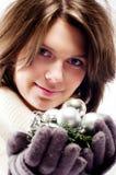 Retrato de la Navidad de una muchacha Fotografía de archivo