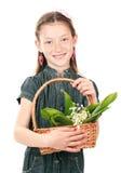 Retrato de la niña hermosa con los lirios Fotos de archivo libres de regalías