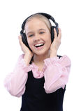 Retrato de la niña que escucha foto de archivo libre de regalías