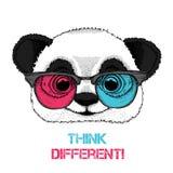 Retrato de la panda en los vidrios coloreados Piense diferente Ilustración del vector libre illustration