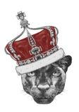 Retrato de la pantera con la corona ilustración del vector