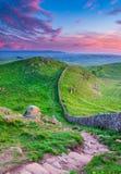 Retrato de la pared del ` s de Hadrian en el crepúsculo imagen de archivo