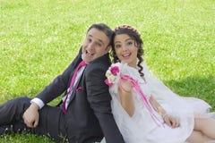 Retrato de la pareja casada feliz Imagenes de archivo