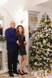Retrato de la pareja casada que presenta contra los wi adornados de la chimenea Fotografía de archivo