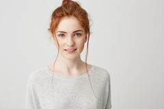 Retrato de la presentación sonriente de la muchacha blanda hermosa del jengibre mirando la cámara sobre el fondo blanco Imágenes de archivo libres de regalías