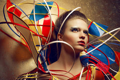 Retrato de la presentación modelo pelirroja de la moda hermosa (jengibre) Imágenes de archivo libres de regalías