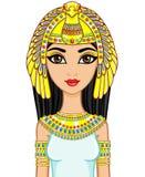 Retrato de la princesa egipcia de la animación en joyería del oro Diosa Isida El ejemplo del vector aislado en un fondo blanco libre illustration