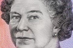 Retrato de la reina Elizabeth II - closeu del billete de dólar del australiano 5 Imagen de archivo