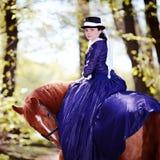 Retrato de la señora en un caballo rojo Fotografía de archivo libre de regalías