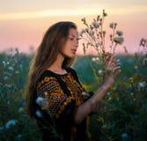 Retrato de la señora joven en un vestido bordado en el prado Imágenes de archivo libres de regalías